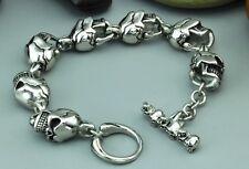 Bracelet Chain Fashion Jewelry 8.66'' Men's Matt Finished Stainless Steel Skull