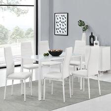 Essgruppe Sitzgruppe Esstisch Set Weiss Tischset Stühle Esszimmergarnitur Metall