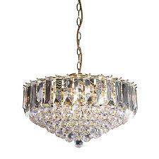 Endon Fargo chandelier 6x 60W Brass effect plate & clear acrylic