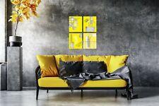 Set of 4 8x10 Yellow Haze Abstract Wall Art Canvas Prints