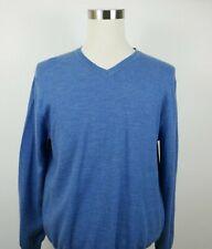 GAP Mens Merino Wool Long Sleeve V Neck Solid Dark Blue Sweater Large