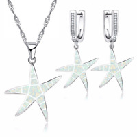 Fashion 925Silver White Fire Opal Starfish Pendant Necklace Earrings Set Jewelry
