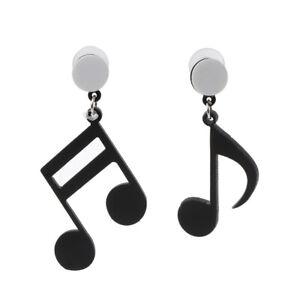 Black Musical Note Asymmetric Acrylic Drop Earrings Women Girls  Fashion Jewelry