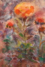 Vintage abstract floral watercolor painting still life