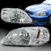 For 99-00 Honda Civic Coupe/Sedan JDM Chrome Headlights W/Amber Reflector Lamps