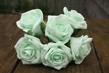 6 x PALE MINT GREEN COLOURFAST FOAM COTTAGE ROSES 6cm WEDDING FLOWERS
