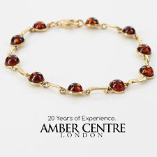 ITALIAN MADE CHERRY BALTIC AMBER BRACELET IN 9CT GOLD -GBR042 RRP£400!!!