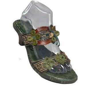 Spring Step Women's Size EU 40 US 9 Savory Green Leather Sandals Kitten Heel