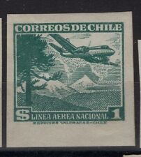 CHILE 1950-54 Sc.C138 Araucarian pine & plane MH IMPERFORATED proof