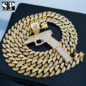 """Hip Hop 37 RIP MARY Gun Pendant & 12mm 30"""" Full Iced Cuban Link Chain Necklace"""
