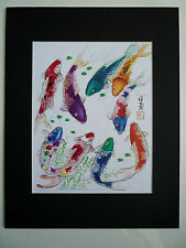 11x14 Nine Koi Fish 1 good luck Feng shui Art Asian - Chinese Brush Painting