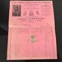 Facture Ancienne Location De Meubles Limonier Alençon Au Prince De Polignac 1903