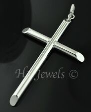 18k solid white gold  hollow cross pendant  #2503 h3jewels 3.30 grams