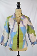 Anita Ford Collection ART of THAI Watercolor SILK open front blazer jacket,  XS