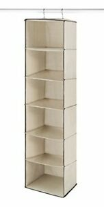 "Whitmor 6 Shelf Closet Hanging Canvas Accessory Storage Bag Organizer 12"" x 48"""