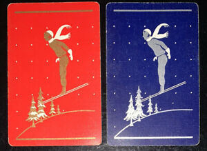 Playing Swap Cards 2 Vintage Deco Gold &silver Skier Pair