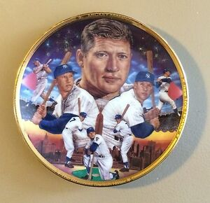 """1989 MICKEY MANTLE Sports Impreesions Greatest Switch Hitter 4""""-1/8 Mini Plate"""