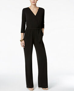 NY Collection Women's Petite Belted 3/4 Sleeve V-Neck Jumpsuit Black Size PM