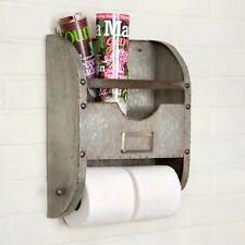 New Rustic Farmhouse Chic METAL BUCKET TOILET PAPER BAR Magazine Rack Holder