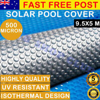 Solar Swimming Pool Cover 500 Micron Outdoor Bubble Blanket 9.5x5m Blue/Silver