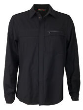 Men's NWT PRADA Camicia Button Shirt Jacket Black Virgin Wool Leather M New
