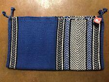 "HANDLOOM Fine Hand Woven Saddle Blanket Royal Blue White Black 38"" x 34"""