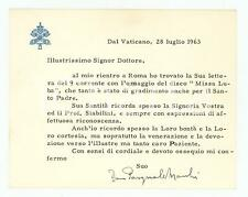 1963 VATICANO Mons. Pasquale MACCHI - Biglietto ringraziamento AUTOGRAFO