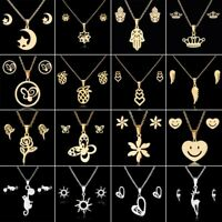 Gold Hollow Women Pendant Necklace Earrings Ear Stud Wedding Jewellery Set Gift