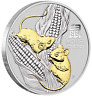 2020 Australia Lunar Year of the MOUSE GILDED 1oz SIlver $1 Coin w/ OGP/BOX Gilt