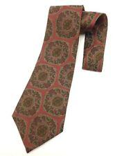 Vintage Necktie Wide Neck Tie Brown Maroon Paisley Jacquard Intricate Weave Boho
