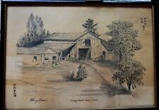 """Chinese pencil draw sketch suburbs house """"tranquil farm """" artist """"Henry Soon"""""""