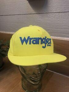 VTG Wrangler Jeans Brand SnapBack  Highlighter Yellow One Stitch Hat' USA Rare