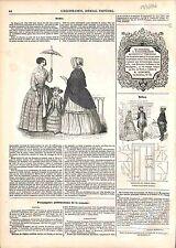 Mode Robe Jupe Jupon Chapeau Col de Dentelles Taffetas Châle /Rébus GRAVURE 1847