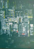 Green City Abstract Painting,   Acrylic on Stretched Canvas, Signed By Artist