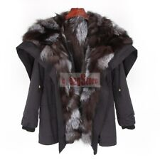 2019 New Women's Real Rabbit & Raccoon & Fox Fur Hooded Lined Coat Jacket Parka