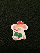 Vintage Gold tone Christmas Mouse Enamel brooch Pin jewelry