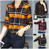 Trendy Women Button Down Blouse Tops Long Sleeve Flannel Check Plaid Lapel Shirt