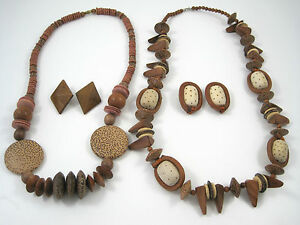 """Spotted Wood Necklaces Earrings Clip Sets Leather Wrapped Beads 26"""" & 29"""" Long"""