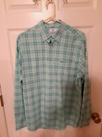 Southern Tide Intercoastal L/S Green/White Button Down Shirt Mens Large EUC