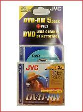 JVC DVD-RW 1.4 Gb 8cm 30min TELECAMERA MINI DISCHI DVD PACK 5 + Lente Pulizia DISC