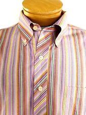 John Ashford Men's Striped Button Front Long Sleeve Striped Shirt Size XL