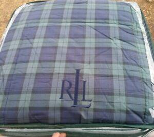 Ralph Lauren Full/Queen Reversible Down Alternative Comforter Plaid Blue Green