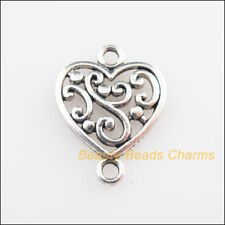12Pcs Tibetan Silver Tone Flower Heart Charms Connectors 14.5x19mm