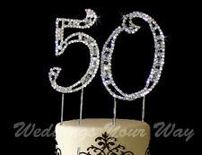 50th Birthday Rhinestone Crystal Cake Topper Number 7cm Silver Diamante Bling