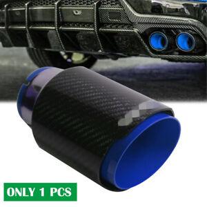 Blue Baking Paint Universal Muffler Tip Exhaust Pipe 63mm Inlet Carbon Fiber