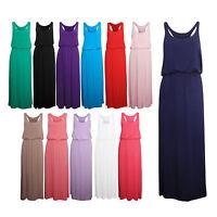Womens Ladies Girls Puffball Racer Back Elasticated Waist Long Maxi Dress SM/ML