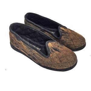 Loro Piana Caramel & Black 100% Cashmere Slippers Size 36