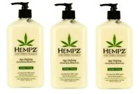 LOT 3 AGE DEFYING Herbal Body Moisturizer Hemp After Tan Lotion 17 oz