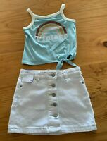 Girls size 2 Blue VINTAGE tank top & WHITE denim button up Target SKIRT NEW