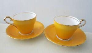AYNSLEY BONE CHINA YELLOW ORANGE DEMITASSE ESPRESSO COFFEE CUPS ENGLAND
